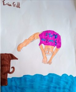 girl diving art